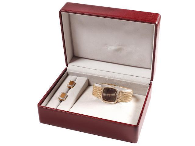 Omega: A gentleman's diamond set wristwatch