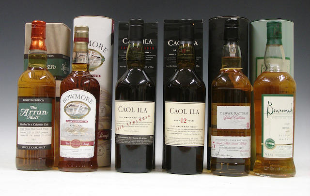 Arran Calvados Cask<BR /> Bowmore Cask Strength<BR /> Caol Ila Cask Strength<BR /> Caol Ila-12 year old<BR /> Benriach-15 year old-1989<BR /> Benromach-1980