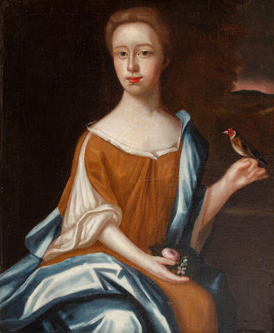 Follower of John Michael Wright (British, 1617-1694) Portrait of a lady holding a bird, a rose in the other hand