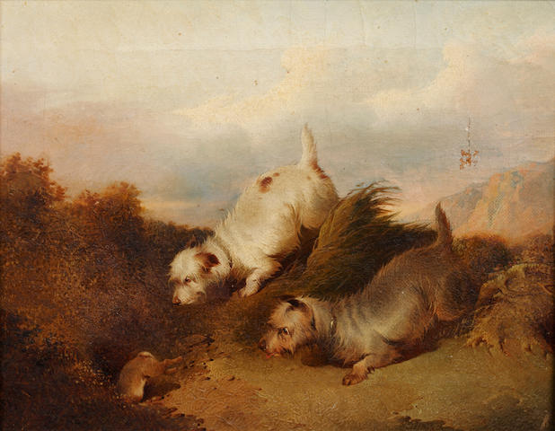 Paul Jones (British, fl. 1856-1879) Terriers chasing a rabbit down a hole; and Spaniels flushing out a duck,