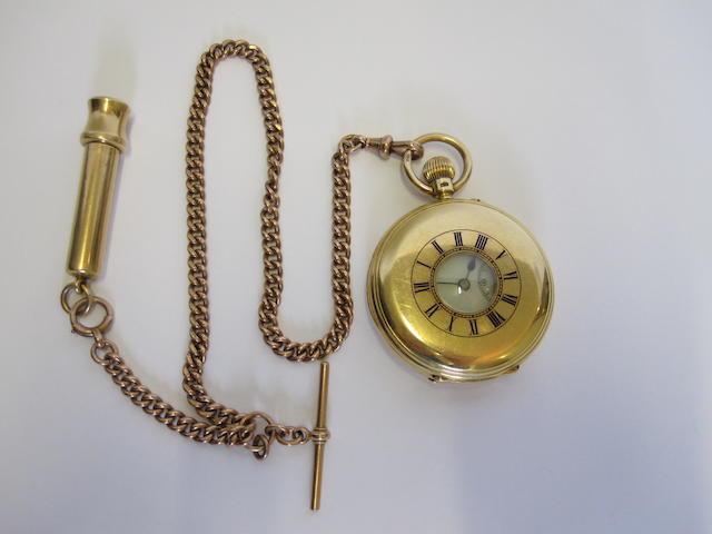 An 18ct gold half-hunter pocket watch, by Brockbank & Atkins,