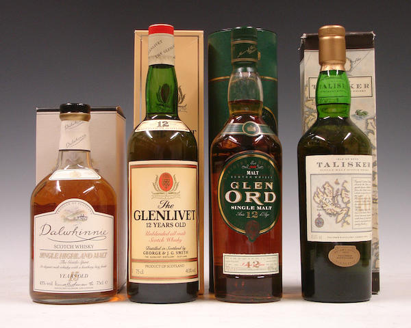 Dalwhinnie-15 year old  The Glenlivet-12 year old  Glen Ord-12 year old  Talisker-10 year old