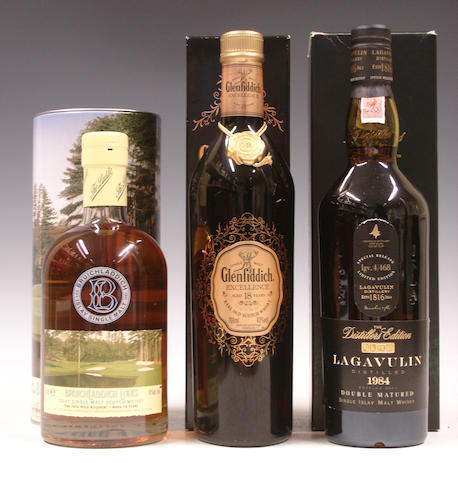 Bruichladdich Links-14 year old  Glenfiddich Excellence-18 year old  Lagavulin-1984