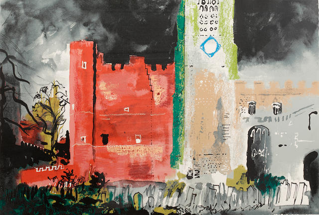 John Piper C.H. (British, 1903-1992) Buckden Palace, Cambridgeshire  Screenprint in colours, 1982, on Arches, signed in pencil, printed by Kelpra Studio, published by CCA, with their blindstamp, 576 x 778mm (22 11/16 x 30 5/8in)