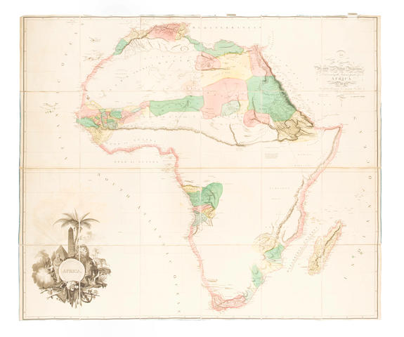AFRICA - ARROWSMITH (AARON) Africa, large hand-coloured engraved folding map, 1802