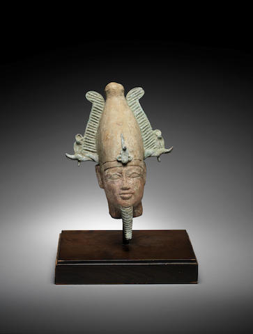 An Egyptian wood and bronze head of Osiris