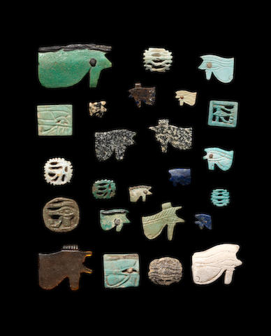A group of Egyptian udjat eye amulets 24