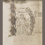 HENRY VIII. Initial letter portrait of Henry VIII, showing the crowned King enthroned holding orb and sceptre, on a grant to John Reed of the Monastery and Priory of Tandridge in the County of Surrey, 1537/8