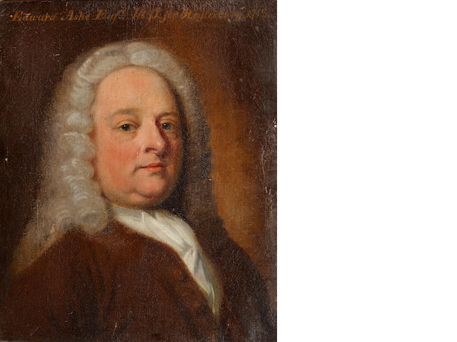 Circle of Thomas Frye (Dublin 1710-1762 London) Portrait of Edward Ashe Esq., M.P for Heytesbury, 1713