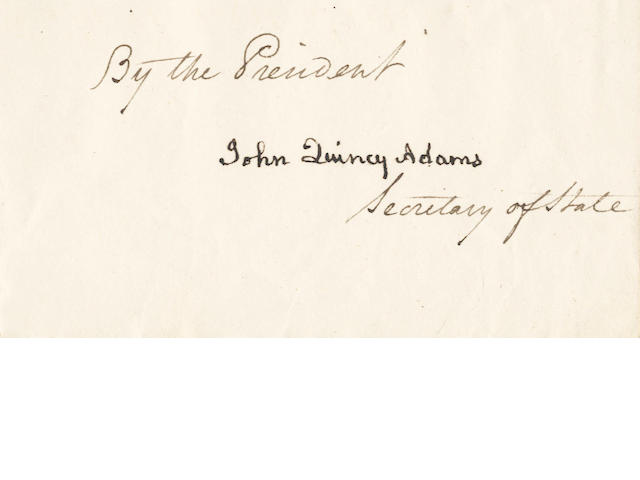 AMERICAN PRESIDENTS – MONROE and QUINCY ADAMS. Letters patent signed by James Monroe, as President, and counter-signed by John Quincy Adams, as Secretary of State, 1818