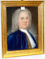 John Saunders (British, active 1750) Portrait of a gentleman, half-length, wearing a blue frock coat;