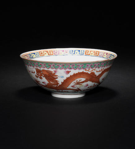 A famille rose 'dragon and phoenix' bowl Guangxu mark and of the period