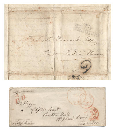 SHELLEY CIRCLE – MARY, PEACOCK and HOGG. Autograph envelope by Mary Shelley; together with an autograph letter by Thomas Jefferson Hogg to Thomas Love Peacock