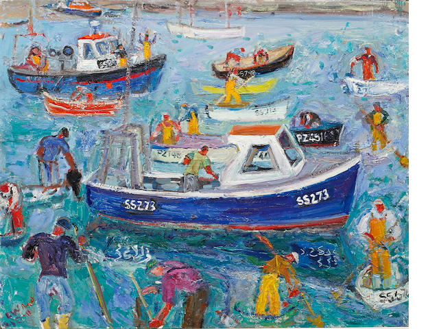 Linda Weir (British, born 1951) Stuart McClary and St Ives Fishermen, A Good Catch