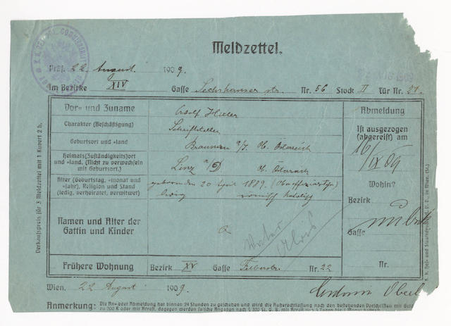 "HITLER (ADOLF) Autograph police registration from, or Meldzettel, with his name entered in his hand (""Adolf Hitler""), recording his residence at Sechshauserstrasse, Vienna, on 22 August 1909"