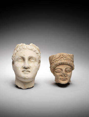 Two Cypriot limestone heads