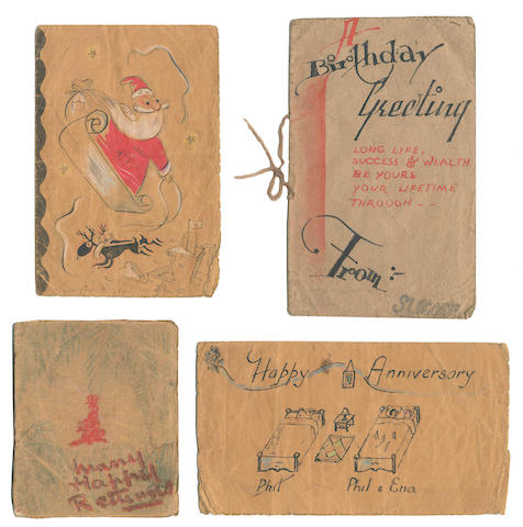 SEARLE (RONALD) Collection of four pen and watercolour greetings cards drawn by Searle and his cell-mates in the infamous Japanese Changi prison camp in Singapore