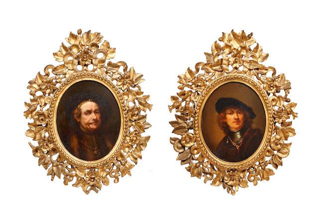 After Rembrandt Harmensz van Rijn A pair of oval portraits