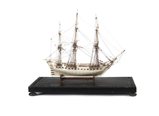 Prisoner of War style bone ship model, probably late 19th century. 15.5x8.5x14ins. (39x22x36cm)