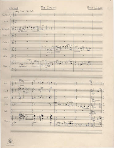 WARLOCK (PETER, PHILIP HESELTINE) Autograph manuscript full score of his song-cycle The Curlew, setting four poems by W.B. Yeats