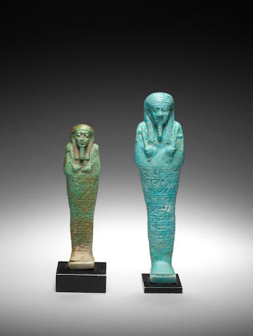 Two Egyptian glazed composition shabtis 2