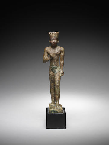 An Egyptian bronze figure of Amun