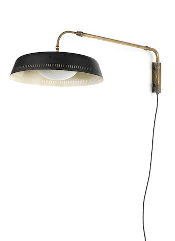 Wall Light French, circa 1955  brass, enamelled metal and glass  Length: 73 cm.                28 3/4 in. Diameter of shade: 40.5 cm.                         15 15/16 in.