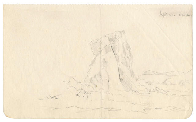 WILSON (EDWARD) Sketch of a fantastic pressure ridge, 1911; together with 2 ALS, primus stove, aneroid barometer, and typescript ms with notes by EW (small quantity)