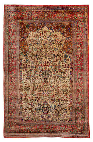 A silk Kashan rug, Central Persia, circa 1890, 6 ft 9 in x 4 ft 3 in (204 x 128 cm) good condition