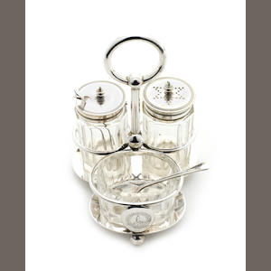 TERRA NOVA An electroplated cruet set from the Terra Nova wardroom, by Walker & Henderson, Sheffield, [c.1900]