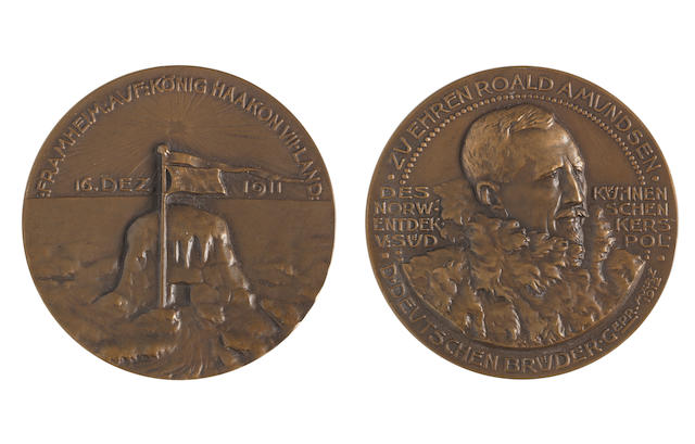 AMUNDSEN MEDAL Roald Amundsen Medal, bronze medallion, 50mm diam., bust wearin thick fur right, Zu Ehren Roald Amundsen D Deutschen Bruder Gepr Marz 1912 around edge, Des Kuhnen Norw: Schen Entdek Kers V: Sud Pol, to either side of bust,