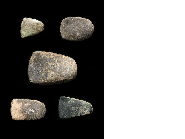 Five small stone polished axeheads 5