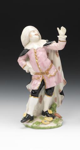 A rare Chelsea 'Commedia dell'Arte' figure of Dr. Boloardo circa 1755