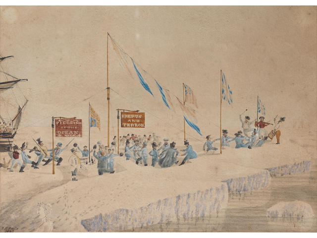 "DAVIS (JOHN EDWARD) A celebration (?New Years day) on the ice, illustrating the crew members (mostly dressed in blue) dancing and playing music, parading and eating at tables cut from the ice, beneath signs (""Pilgrims of the Ocean"" and ""Erebus and Terror""), the Royal Standard and other flags, an ice sculpture in the foreground, one of the ships in the background"