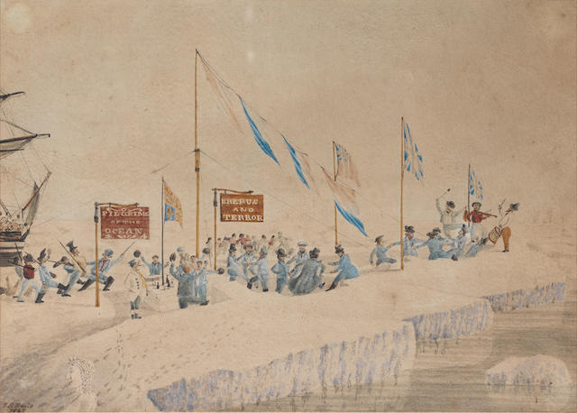 """DAVIS (JOHN EDWARD) A celebration (?New Years day) on the ice, illustrating the crew members (mostly dressed in blue) dancing and playing music, parading and eating at tables cut from the ice, beneath signs (""""Pilgrims of the Ocean"""" and """"Erebus and Terror""""), the Royal Standard and other flags, an ice sculpture in the foreground, one of the ships in the background"""