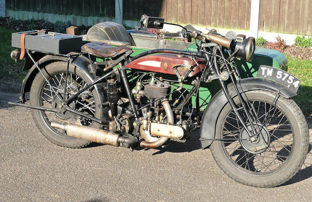 1926 BSA 493cc Model S26 & BSA No.7 Sidecar Frame no. 4229 Engine no. M9494