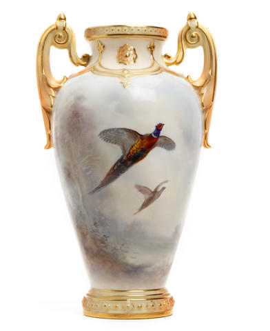 A Royal Worcester vase, signed by James Stinton Dated 1903