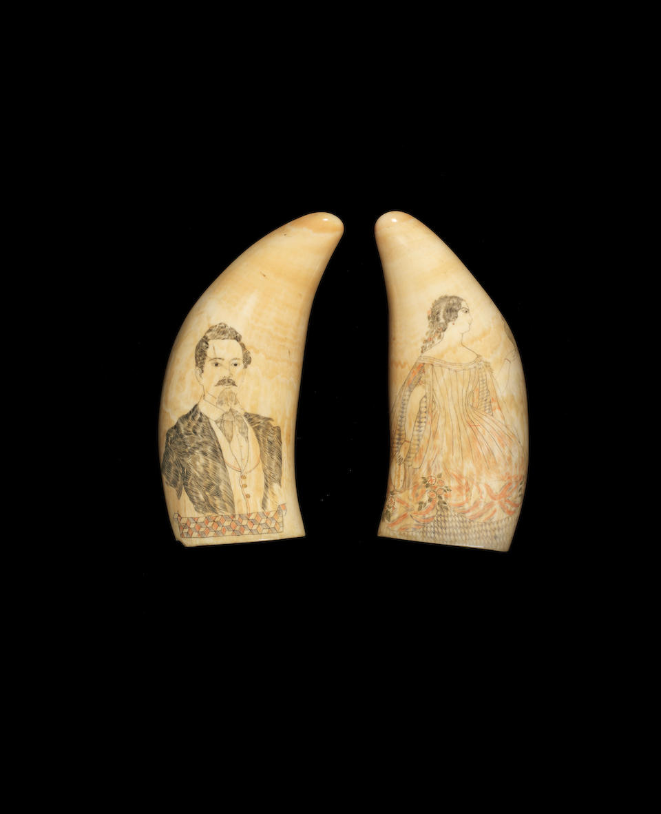 A pair of 19th century Scrimshaw decorated Sperm whale teeth. 6.3ins. (16cm)long. 2
