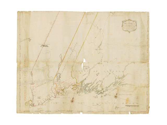 COLONIAL MASSACHUSETTS SMALL (JOHN) Untitled map of the counties of York, Cumberland & Lincoln, with a long and dated dedication to Sir Francis Bernard