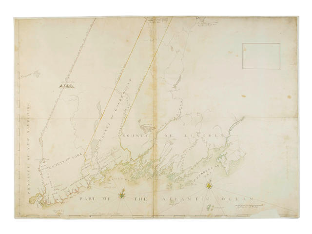 COLONIAL MASSACHUSETTS SMALL (JOHN) Untitled map of the counties of York, Cumberland & Lincoln