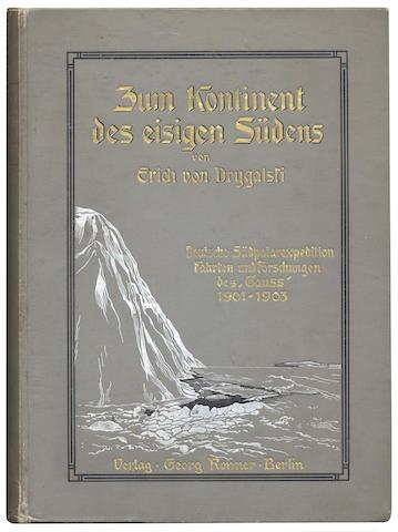 """DRYGALSKI (ENRICH VON) Zum Kontinent des eisigen Sudens. Deutsche Südpolar Expedition fahrten des """"Gauss"""" 1901-1903, FIRST EDITION, AUTHOR'S PRESENTATION COPY inscribed """"Seinem lieben Dr. O. Schlüter freundlichst überreicht. 24 Nov. 04. Erich von Drygalski"""" on half-title"""