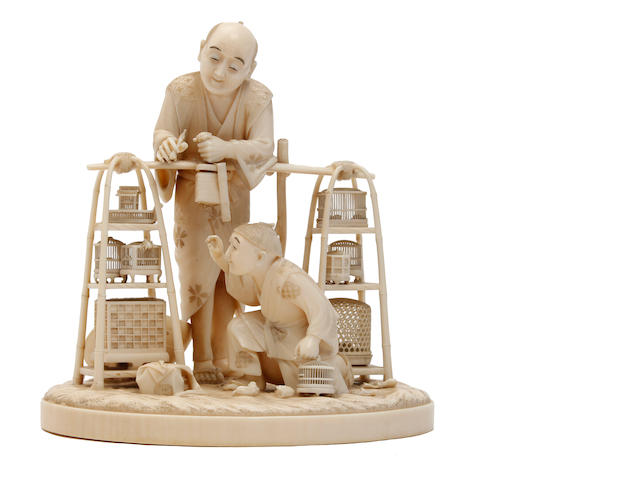 A  Japanese ivory Okimono of an insect seller  Meiji period