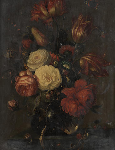 German School, 18th Century Roses, tulips, narcissi and other flowers,