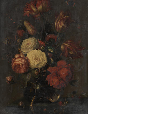 Manner of Abraham Mignon Roses, tulips, narcissi and other flowers,
