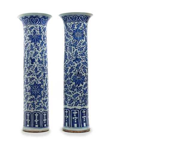 A large pair of Chinese blue and white sleeve vases 19th Century