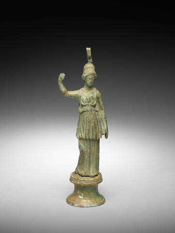 A Roman bronze figure of Athena