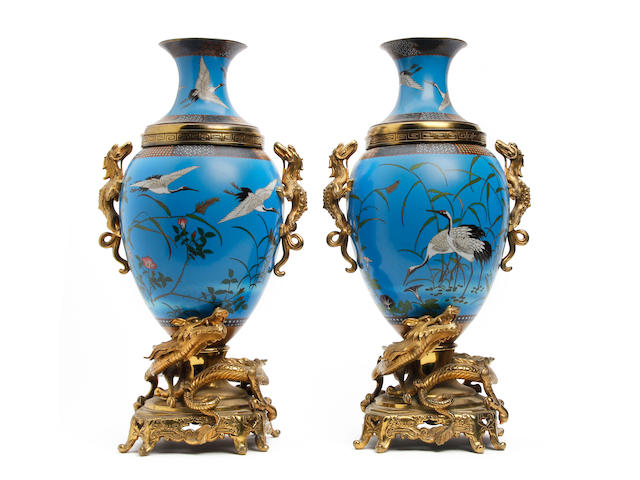 A pair of Japanese Cloisonné vases with gilt metal dragon mounts  Circa 1900