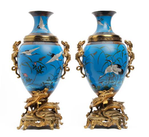 A pair of Japanese Cloisonné vases with gilt metal dragon mounts Circa 1900