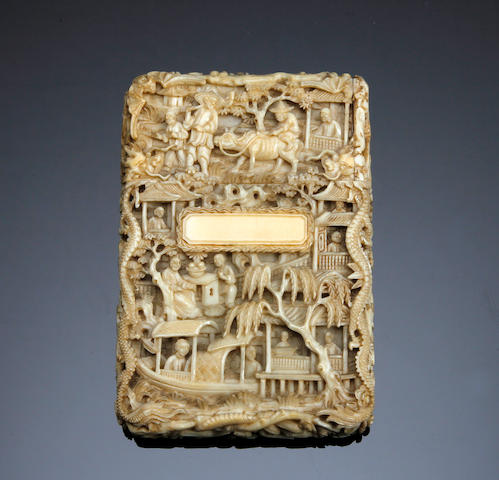 A Canton Carved ivory card case Circa 1860
