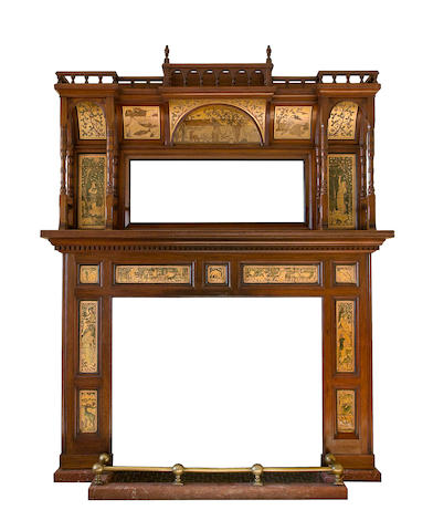 Walter Crane, attributed, for W.B. Simpson & Son An Impressive Fire Surround, circa 1875